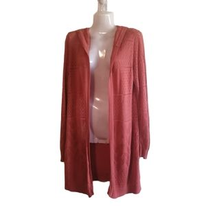 Pink Rose  Hooded Cardigan Size lg